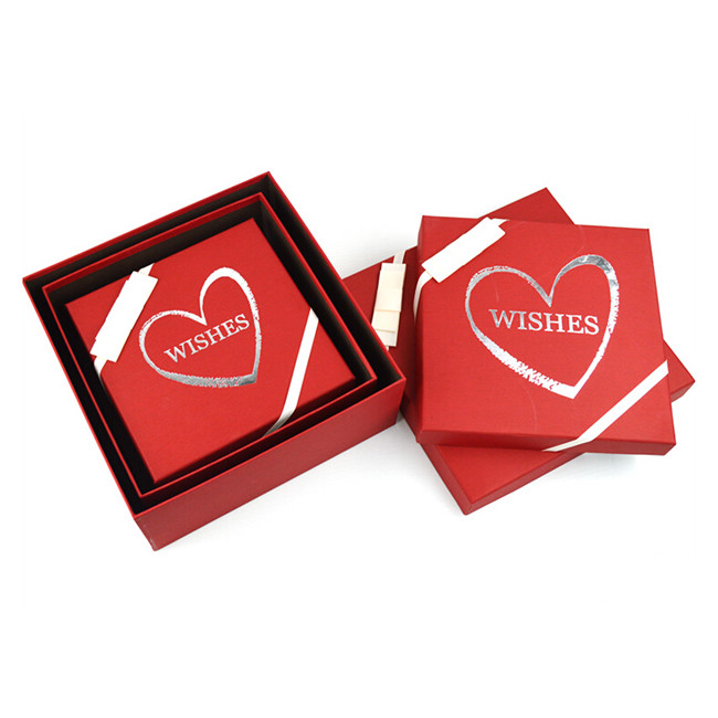 Base & Lid Red Cardboard Gift Box For Cups