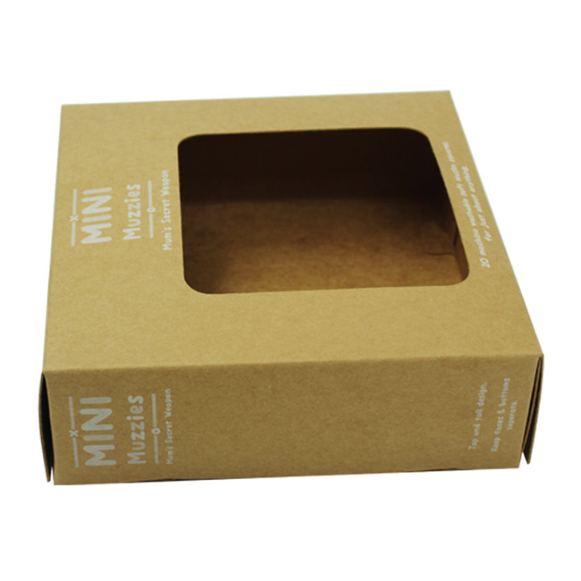 White logo printed brown kraft boxes with window