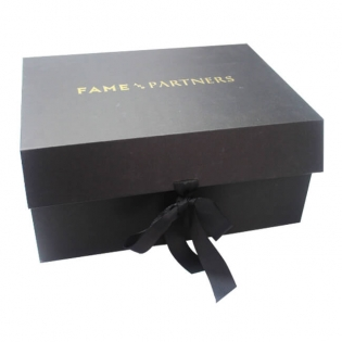 Black Apparel Folding Gift Boxes with Ribbon Closure
