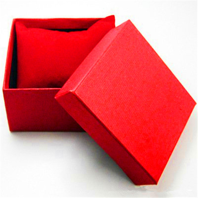 Red colored watch gift box with pillow for automatic watches