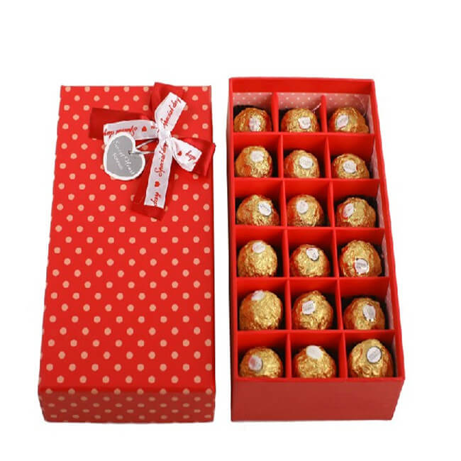 Red Dotted Cardboard Gift Boxes For Chocolates