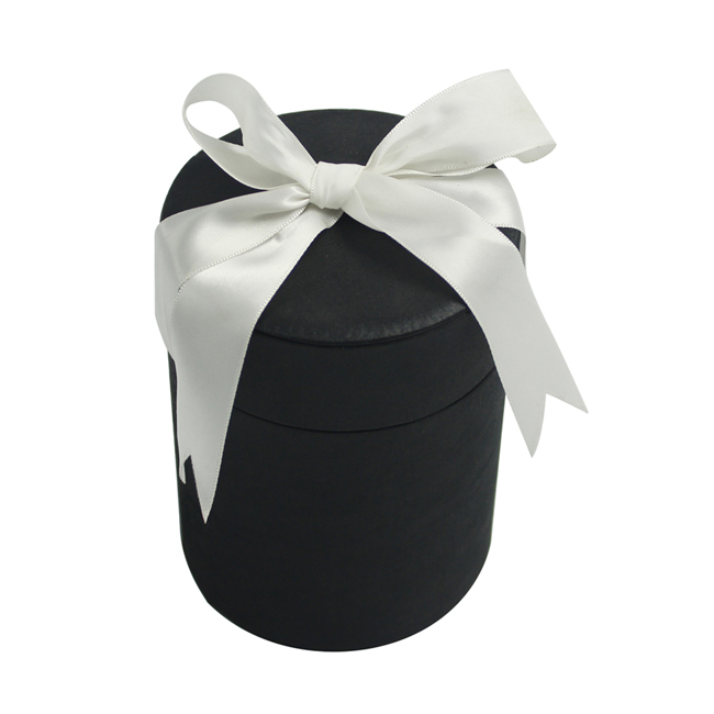 Black Round Box for Rose With White Ribbon