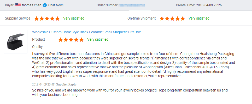 5 stars review on jewelry packaging box