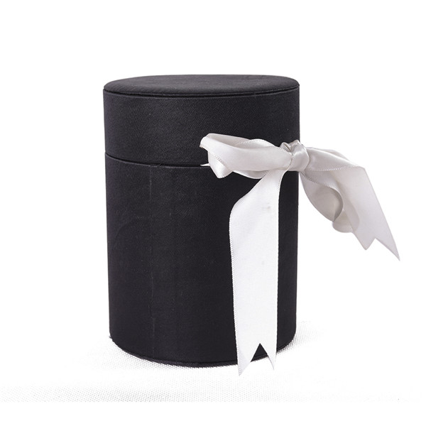 Simple Black Round Perfume Sample Box With Ribbon